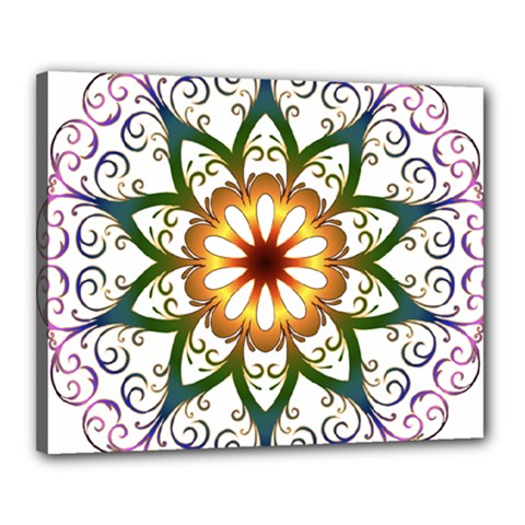 Prismatic Flower Floral Star Gold Green Purple Canvas 20  X 16  by Alisyart