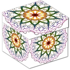 Prismatic Flower Floral Star Gold Green Purple Storage Stool 12   by Alisyart