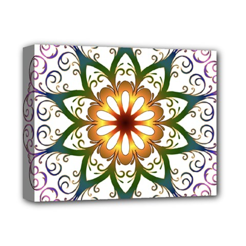 Prismatic Flower Floral Star Gold Green Purple Deluxe Canvas 14  X 11  by Alisyart