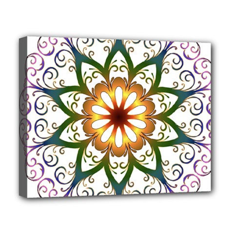 Prismatic Flower Floral Star Gold Green Purple Deluxe Canvas 20  X 16   by Alisyart