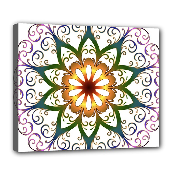 Prismatic Flower Floral Star Gold Green Purple Deluxe Canvas 24  x 20