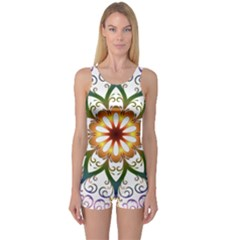 Prismatic Flower Floral Star Gold Green Purple One Piece Boyleg Swimsuit