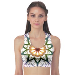 Prismatic Flower Floral Star Gold Green Purple Sports Bra by Alisyart
