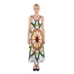 Prismatic Flower Floral Star Gold Green Purple Sleeveless Maxi Dress by Alisyart