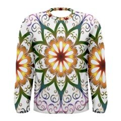 Prismatic Flower Floral Star Gold Green Purple Men s Long Sleeve Tee by Alisyart