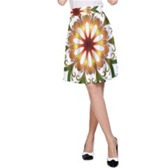 Prismatic Flower Floral Star Gold Green Purple A-line Skirt by Alisyart