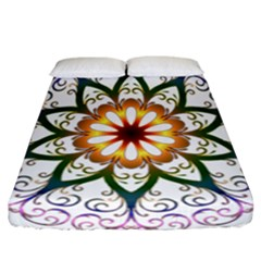Prismatic Flower Floral Star Gold Green Purple Fitted Sheet (california King Size)
