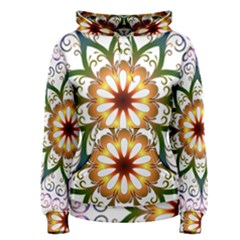 Prismatic Flower Floral Star Gold Green Purple Women s Pullover Hoodie
