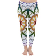 Prismatic Flower Floral Star Gold Green Purple Classic Winter Leggings