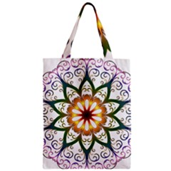 Prismatic Flower Floral Star Gold Green Purple Zipper Classic Tote Bag by Alisyart