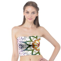Prismatic Flower Floral Star Gold Green Purple Tube Top by Alisyart