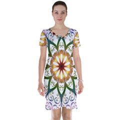 Prismatic Flower Floral Star Gold Green Purple Short Sleeve Nightdress by Alisyart