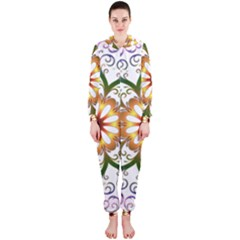Prismatic Flower Floral Star Gold Green Purple Hooded Jumpsuit (ladies)