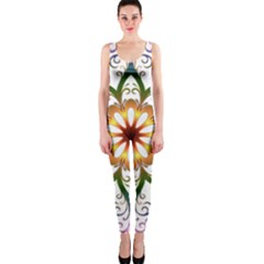 Prismatic Flower Floral Star Gold Green Purple Onepiece Catsuit by Alisyart