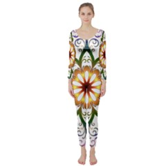 Prismatic Flower Floral Star Gold Green Purple Long Sleeve Catsuit by Alisyart