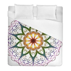 Prismatic Flower Floral Star Gold Green Purple Duvet Cover (full/ Double Size) by Alisyart