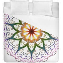Prismatic Flower Floral Star Gold Green Purple Duvet Cover (king Size) by Alisyart