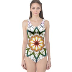 Prismatic Flower Floral Star Gold Green Purple One Piece Swimsuit by Alisyart