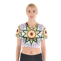 Prismatic Flower Floral Star Gold Green Purple Cotton Crop Top by Alisyart