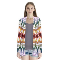 Prismatic Flower Floral Star Gold Green Purple Cardigans by Alisyart