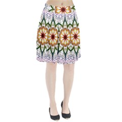 Prismatic Flower Floral Star Gold Green Purple Pleated Skirt