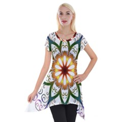 Prismatic Flower Floral Star Gold Green Purple Short Sleeve Side Drop Tunic by Alisyart