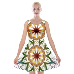 Prismatic Flower Floral Star Gold Green Purple Velvet Skater Dress by Alisyart