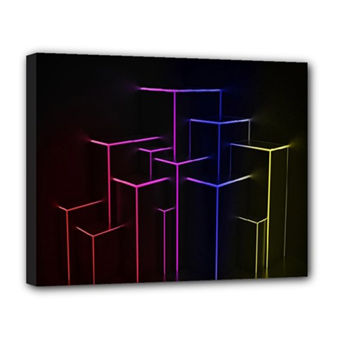 Space Light Lines Shapes Neon Green Purple Pink Canvas 14  X 11  by Alisyart