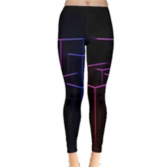 Space Light Lines Shapes Neon Green Purple Pink Leggings  by Alisyart