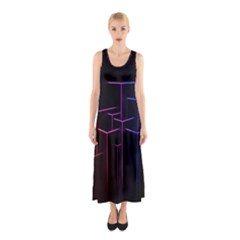 Space Light Lines Shapes Neon Green Purple Pink Sleeveless Maxi Dress by Alisyart