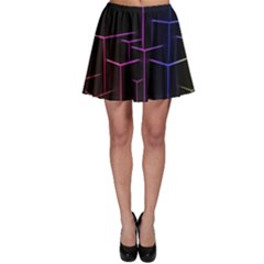 Space Light Lines Shapes Neon Green Purple Pink Skater Skirt by Alisyart