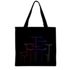 Space Light Lines Shapes Neon Green Purple Pink Grocery Tote Bag by Alisyart