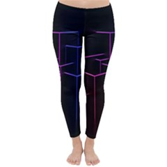 Space Light Lines Shapes Neon Green Purple Pink Classic Winter Leggings