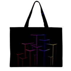 Space Light Lines Shapes Neon Green Purple Pink Zipper Mini Tote Bag by Alisyart