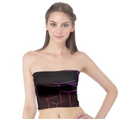 Space Light Lines Shapes Neon Green Purple Pink Tube Top by Alisyart