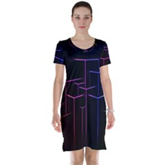 Space Light Lines Shapes Neon Green Purple Pink Short Sleeve Nightdress by Alisyart
