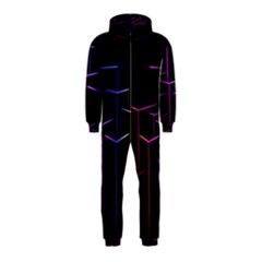 Space Light Lines Shapes Neon Green Purple Pink Hooded Jumpsuit (kids) by Alisyart