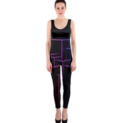 Space Light Lines Shapes Neon Green Purple Pink Onepiece Catsuit by Alisyart