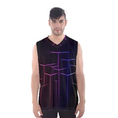 Space Light Lines Shapes Neon Green Purple Pink Men s Basketball Tank Top by Alisyart