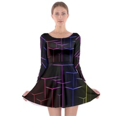 Space Light Lines Shapes Neon Green Purple Pink Long Sleeve Skater Dress by Alisyart