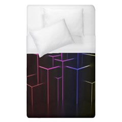 Space Light Lines Shapes Neon Green Purple Pink Duvet Cover (single Size) by Alisyart