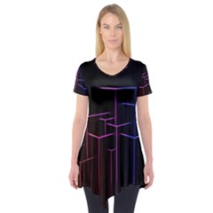 Space Light Lines Shapes Neon Green Purple Pink Short Sleeve Tunic  by Alisyart