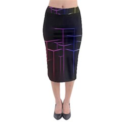Space Light Lines Shapes Neon Green Purple Pink Midi Pencil Skirt