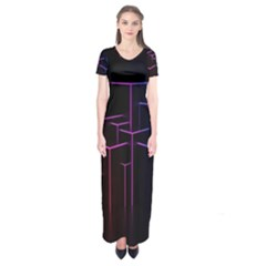 Space Light Lines Shapes Neon Green Purple Pink Short Sleeve Maxi Dress by Alisyart