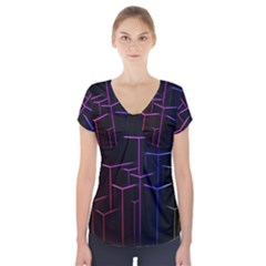 Space Light Lines Shapes Neon Green Purple Pink Short Sleeve Front Detail Top by Alisyart
