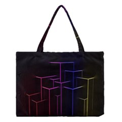 Space Light Lines Shapes Neon Green Purple Pink Medium Tote Bag by Alisyart