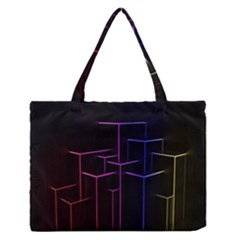 Space Light Lines Shapes Neon Green Purple Pink Medium Zipper Tote Bag by Alisyart