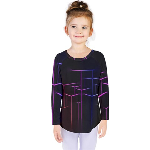 Space Light Lines Shapes Neon Green Purple Pink Kids  Long Sleeve Tee by Alisyart