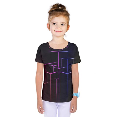 Space Light Lines Shapes Neon Green Purple Pink Kids  One Piece Tee by Alisyart