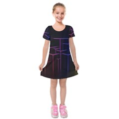 Space Light Lines Shapes Neon Green Purple Pink Kids  Short Sleeve Velvet Dress by Alisyart